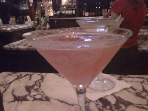 Lavender Cosmo with Lavender Sugar as a garnish